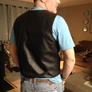 Other - Men's black smooth leather vest! XL